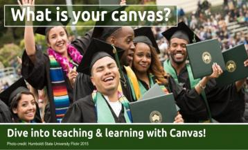 What Is Your Canvas - Dive Into Teaching & Learning with Canvas - Photo of HSU students at graudation smiling